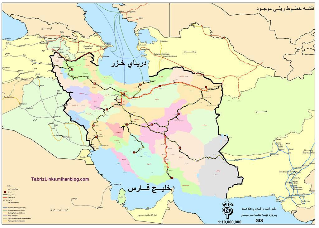 نقشه خطوط ریلی کشور