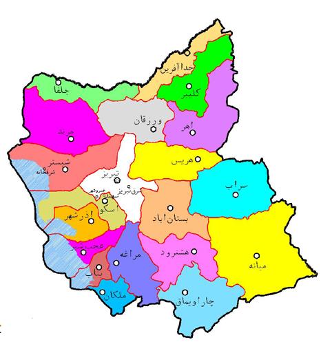 نقشه آذربایجان شرقی